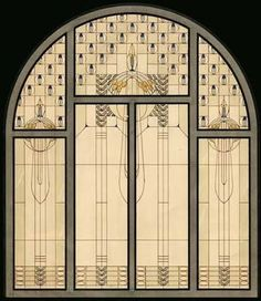 Design for stained glass window by Miksa Roth.