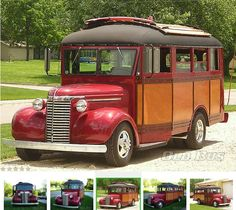 1940 Chevrolet with original Wayne Bus Body, Okume wood paneling with woodgrained metal trim.
