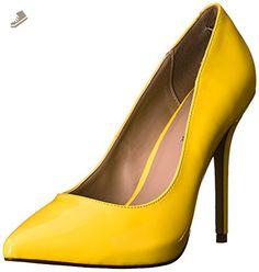 Pleaser Women's Amu20/NYL dress Pump, Neon Yellow Patent, 13 M US - Pleaser pumps for women (*Amazon Partner-Link)