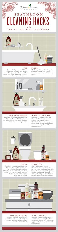 Bathroom hacks with Young Living Essential Oils! All natural cleaning. Check out our Pinterest for more. Chemical free home. YL eo. Oils 101. How to clean with eo