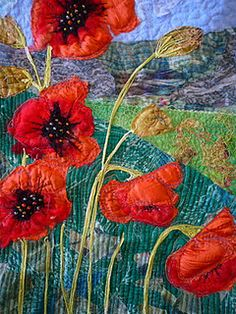 poppy field Quilt, by Lisa Walton - Dyed & Gone to Heaven Patchwork Quilting, Applique Quilts, Crazy Quilting, Landscape Art Quilts, Quilt Modernen, Flower Quilts, Thread Painting, Red Poppies, Fabric Art