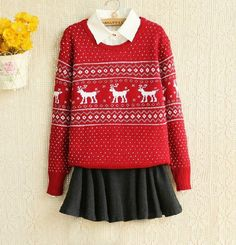 f29f214f9 <3 Librarian Chic, Everyday Dresses, Winter Wardrobe, Sweater Weather,  Reindeer Sweater