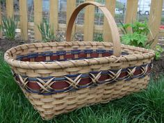 Large Williamsburg Market Basket  Handwoven in Blue and Brown