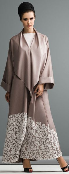 Mauzan abaya  Color linen fabric with applique lace