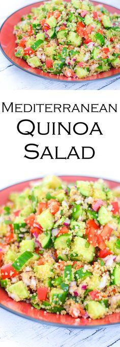 Mediterranean Quinoa Salad w. Cucumber, Bell Peppers, + Onion Salad Recipe - Vegan, Dairy Free BBQ Potluck Dish