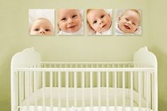 I love canvas prints above a crib or bed...especially of different facial expressions.  Cute!