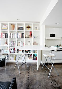"""Angela & Tania's Beadle Box House Tour--love the """"murphy table"""" idea! Table Dépliante, Dining Table, Pool Table, Table Murphy, Apartment Living, Apartment Therapy, Cama Murphy Ikea, Modern Murphy Beds, Murphy Bed Plans"""