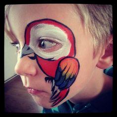 Parrot face paint pirate bird eye design  Inspired by Roxa Rosa