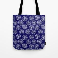 Buy 'Doodle Roses'Navy Blue and White by Notsundoku | Society6. A repeat pattern of hand drawn doodle roses. #repeatpattern #patterns #roses #doodles #doodleart #flowers #handdrawn #Notsundoku #totebags #shoppingbags #bags #Society6