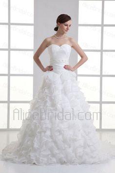 Organza Sweetheart A-line Sweep train Sash Wedding Dress - Alice Bridal