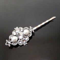 Bridal hair pin Wedding hair pin Swarovski crystal by treasures570