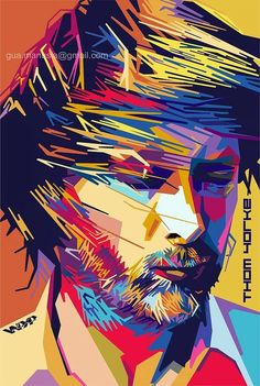 Very awesome Vector design. I love the jaggedness in his face, hair and beard. It gives the image a harsh feeling, which I think the artist was definitely going for. The colors are so bright and really draw your attention into what is happening. It all works very nice