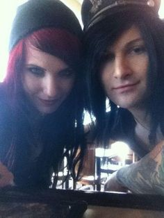 Sammi and Jinxx . they r so cute together Jinxx Bvb, Screamo Bands, We Are The Fallen, Band Memes, Band Quotes, Just Deal With It, Andy Black, Coloured Hair, Andy Biersack