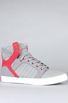 The Skytop Sneaker in Grey & Red by SUPRA  Receive 20% off of your 1st purchase at Karmaloop. And 10% off every purchase after that! Use it on PLNDR and save 10%! At checkout, use REPCODE:peterparker513      - #Karmaloop #plndr #kazbah #Karmalooptv #repteam #brickharbor #boylstontradingco #monark #peterparker513 #ohio #513 #LA #Hollywood #Cincinnati