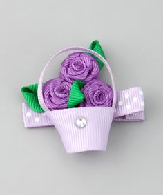Take a look at this Purple Flower Basket Clip by Bubbly Bows on #zulily today!