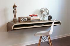 Amazon.com - Minimal Wall Desk Walnut Satin Finish (Satin) - Home Office Desks