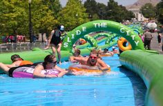 KAMLOOPS - The chance to pick up a ticket for this summer's epic slip 'n slide event is coming soon. The first Slide the City Kamloops will tak Giant Water Slide, Water Slides, Slide The City, Water Party, Thing 1, Johnson City, North Vancouver, Tri Cities, State College