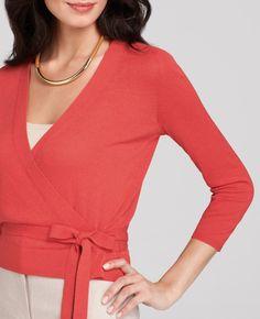 Ann Taylor - AT Petite Sweaters - Petite Cotton Blend 3/4 Sleeve Wrap ...