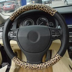 New Style Leopard and Black PU Leather Car Steering Wheel Cover on sale, Buy Retail Price Steering Wheel Covers at Beddinginn.com