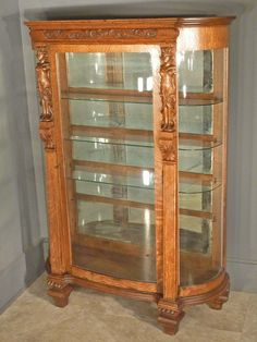 Antique American Victorian carved oak curved glass china hutch ...