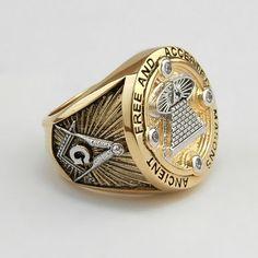 Masonic custom made all seeing Eye Ring 18k 2 tone by vipZone3440