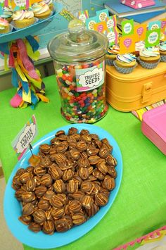 """Fun food at a Dr. Seuss """"Oh, the Places You'll Go!"""" Party #drseuss #partyfood"""