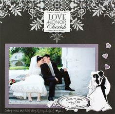 Scrapbook Layouts | Love and Wedding Project Ideas: I Thee Wed 8x8 Scrapbook Layout