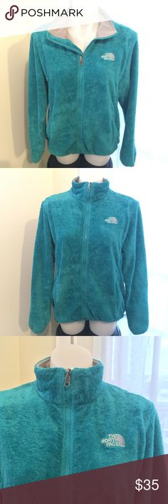 THE NORTH FACE Osito Aquamarine Full Zip Jacket Good Preowned Condition with pilling on the cuffs and snaps have been removed. Women's Size XL The North Face Jackets & Coats