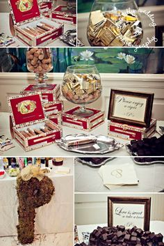 Cigars and Chocolates...what fun favors! Photo by Chantilly Wedding Photography.