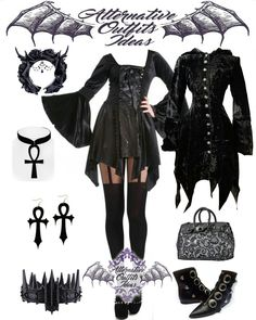 Don't like the Ankhs, but love the rest Alternative Outfits, Alternative Fashion, Punk Fashion, Gothic Fashion, Anime Outfits, Cool Outfits, Dark Clothing, Gothic Glam, Romantic Goth