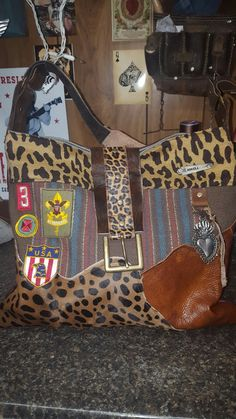 Funky Gypsy boho leopard leather cowhide purse  Patches