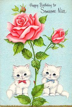 kittens & roses vintage birthday card