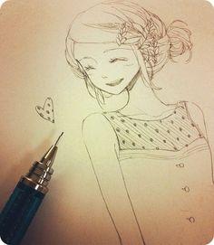 ✮ ANIME ART ✮ anime girl. . .messy bun. . .braid. . .smile. . .blush. . .heart. . .drawing. . .pencil. . .graphite. . .doodle. . .cute. . .kawaii