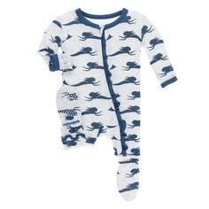 02d80ee5d KicKee Pants Little Boys Print Footie with Zipper - Natural ...