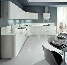 La cuisine blanche moderne - image cuisine laquée blanche