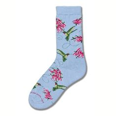 For Bare Feet Hummingbird Collage Car Blue Medium Sock