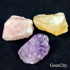 Quartz Trio Crystals Citrine Rose And