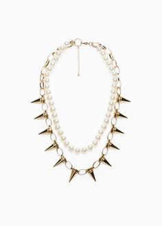 Double necklace with pearls and links with spikes. Mango Clothing, Other Accessories, Bracelets, Pearls, Diamond, Spikes, Collar, Lobster Clasp, Jewelry