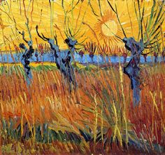 Pollard Willows and Setting Sun by Vincent Van Gogh | Lone Quixote | #VincentvanGogh #vangogh #PostImpressionism #art #painting #sunset