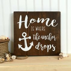 Home is Where the Anchor Drops / Rustic Wall Art / by reLovedSigns