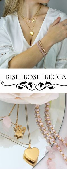 layered necklaces and bracelets in gold and pink pearls and gemstones.mix, match and stack for a luxe boho look#layerednecklaces #layeredbracelets #gold #boho #dainty #long #choker #pearl #gemstone