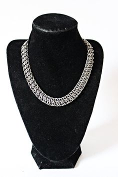 Classic Chainmail choker stainless steel silver Crosshatch weave punk rock