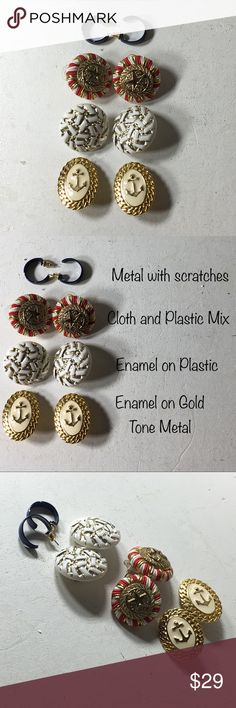 """Vintage Nautical Mix of Clip/Pierced Earrings Fashion/Costume jewelry. Metal/Material Unknown. Years of purchased jewelry which has a history that I am unaware of so if you have allergies, keep that in mind. Always clean purchased jewelry.  Please ask all questions before purchasing. Fair to Good Condition.  Some fading of metal/paint. Scratches on blue Earrings.  Sold """"As Is"""".  Shows wear which commensurates with its age. Please remember, the pictures are your description, too, so please…"""