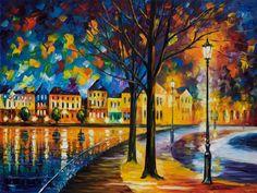 Park am Fluss Limited Edition Nacht Stadtbild von AfremovArtStudio