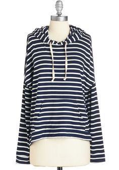 Road to Cozy Hoodie. Your road trip destination is a cozy little cabin, but you kick start the comfort by sporting this navy-and-white striped hoodie for the ride.  #modcloth