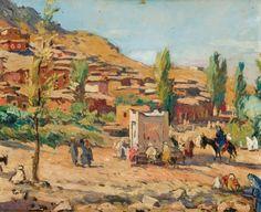 Henri PONTOY (1888-1968) Fontaine devant la Kasbah Huile sur carton, signée en bas à gauche. 37 x 45,5 cm - Gros & Delettrez - 21/06/2010