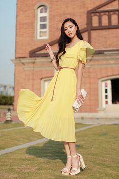 R0538 maxi dress-yellow