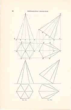 1886 Technical Drawing - Antique Math Geometric Mechanical Drafting Interior Design Blueprint Art Illustration Framing 100 Years Old. $12.00, via Etsy.