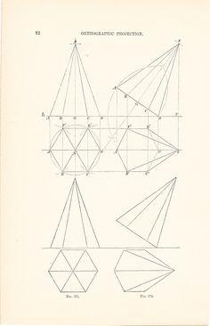 1886 Technical Drawing - Antique Math Geometric Mechanical Drafting Interior Design Blueprint Art Illustration Framing 100 Years Old. $12.00, via Etsy.