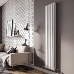 Purcell Vertical Double Panel Radiator Belfry Heating Finish: White, Size: H x W x D Flat Panel Radiators, Vertical Radiators, Column Radiators, Cast Iron Radiators, Radiators Uk, Large Radiator Covers, Horizontal Designer Radiators, Central Heating Radiators, Houses